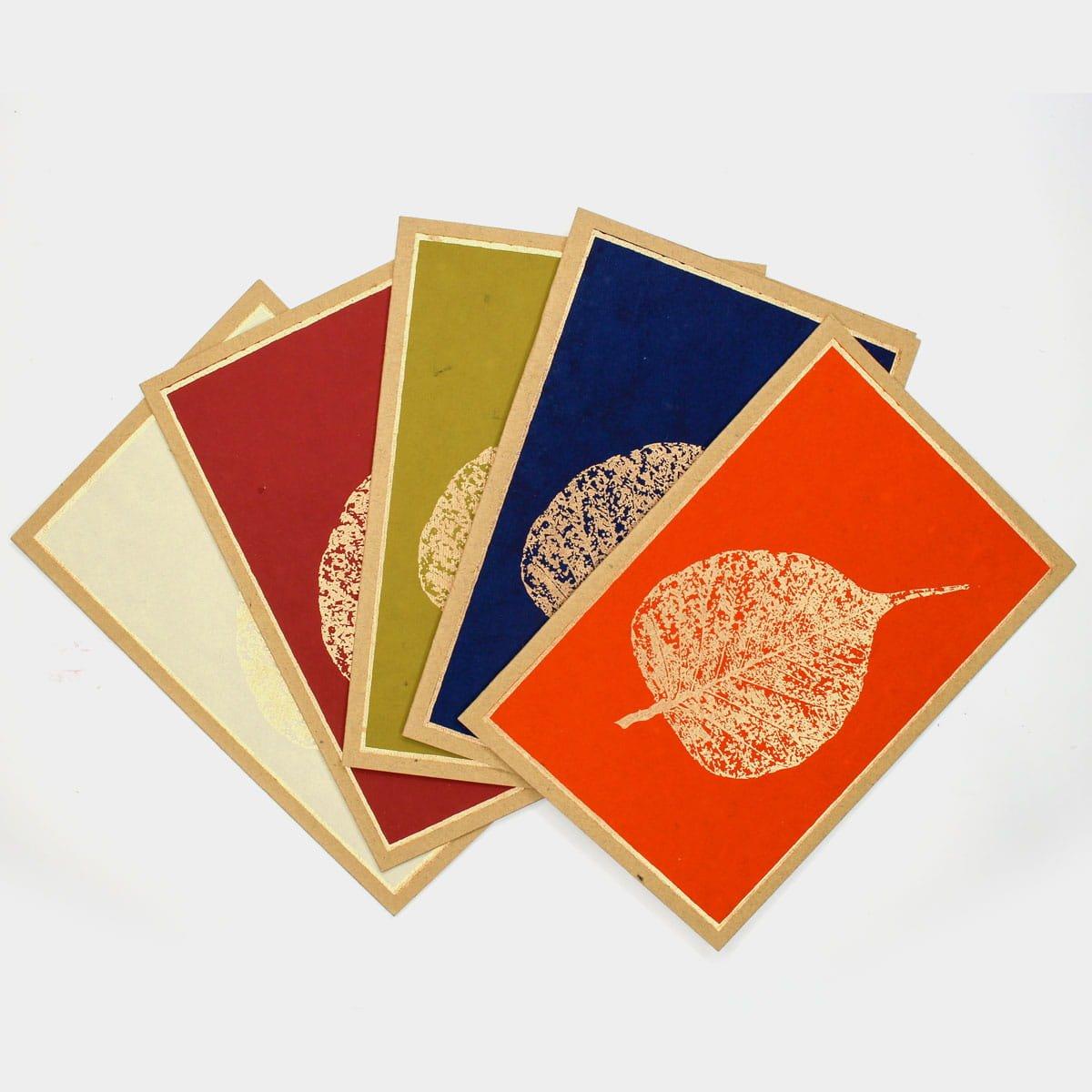 菩提葉脈手工燙金卡片(一組五入)  2