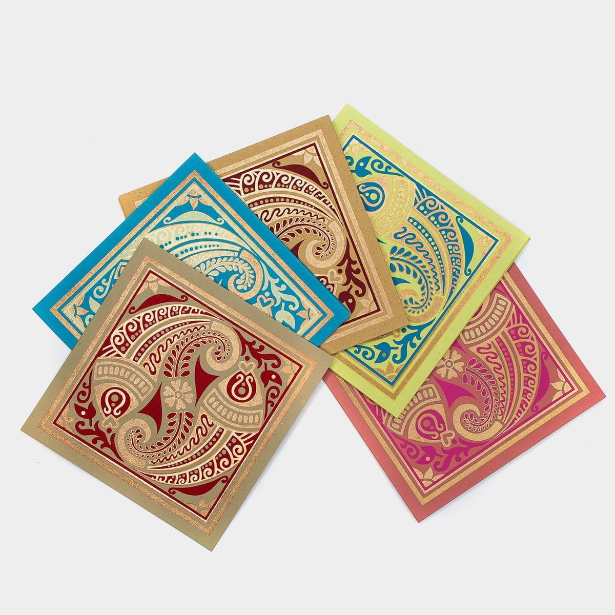 魚水相逢手工正方形卡片(一組五入)  2