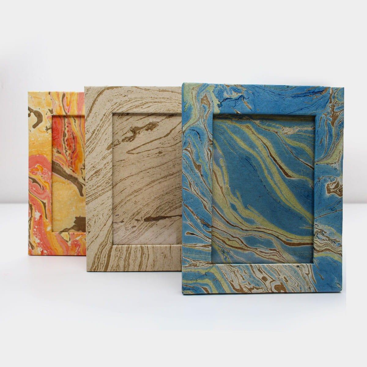 浮水染大理石紋手工紙相框  8