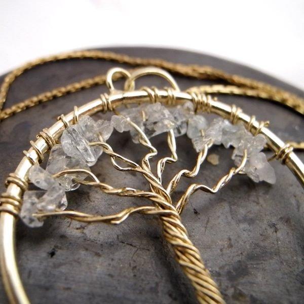 天然透明水晶生命樹項鍊